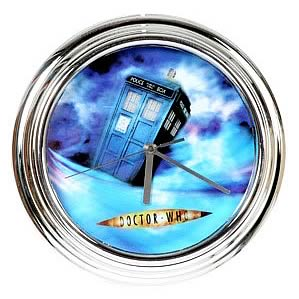 Doctor Who TARDIS Chrome Illuminating Wall Clock